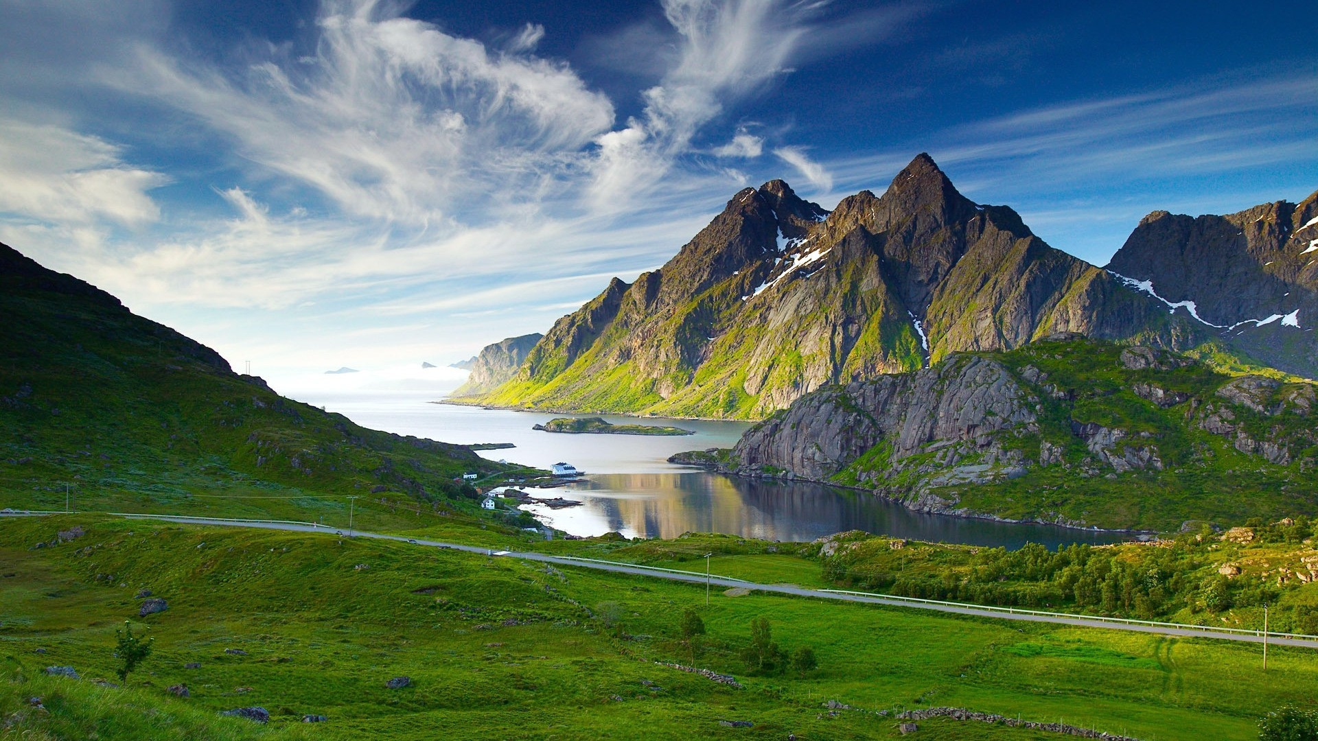 Green Mountains And Lake In Norway Widescreen High Resolution Wallpaper Download Free Adipta Martulandi